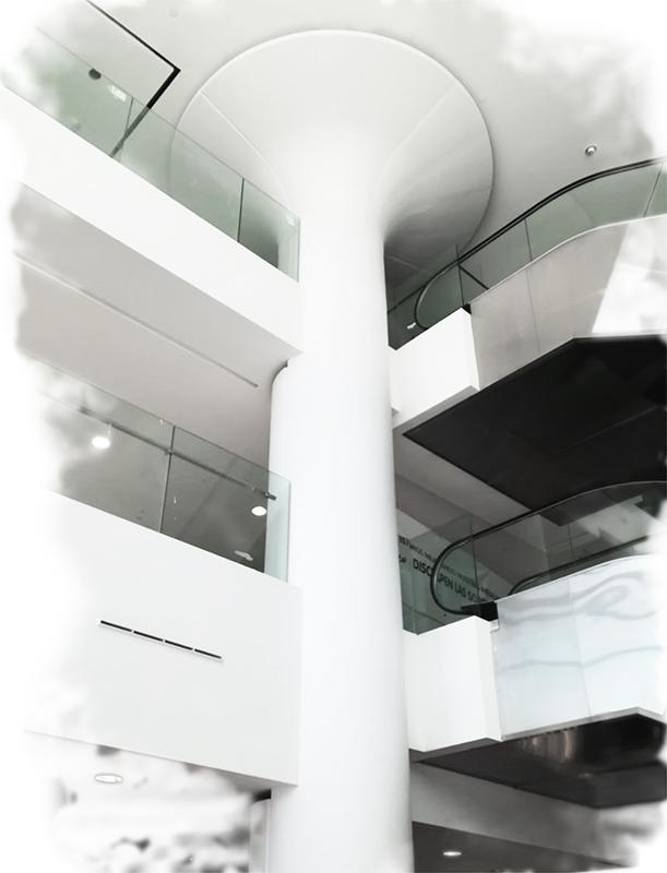 pilar de gran altura en solid surface CORIAN centro comercial