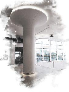 pilar solid surface CORIAN en centro comercial